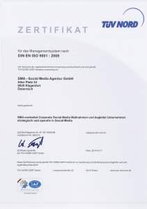 SMA - Social Media Agentur in Österreich ist nach ISO 9001 zertifiziert